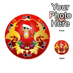Funny, Cute Christmas Owl  With Christmas Hat Playing Cards 54 (round)