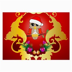 Funny, Cute Christmas Owl  With Christmas Hat Large Glasses Cloth (2-Side)