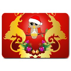 Funny, Cute Christmas Owl  With Christmas Hat Large Doormat