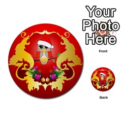 Funny, Cute Christmas Owl  With Christmas Hat Multi-purpose Cards (Round)