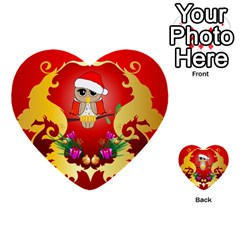 Funny, Cute Christmas Owl  With Christmas Hat Multi-purpose Cards (Heart)