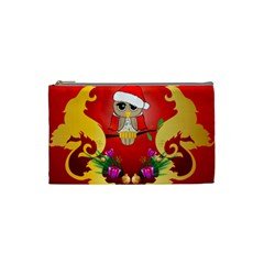 Funny, Cute Christmas Owl  With Christmas Hat Cosmetic Bag (Small)