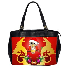 Funny, Cute Christmas Owl  With Christmas Hat Office Handbags (2 Sides)