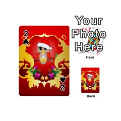 Funny, Cute Christmas Owl  With Christmas Hat Playing Cards 54 (mini)