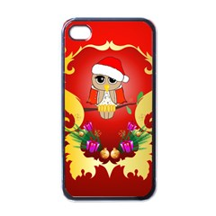 Funny, Cute Christmas Owl  With Christmas Hat Apple iPhone 4 Case (Black)