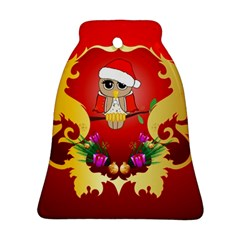 Funny, Cute Christmas Owl  With Christmas Hat Ornament (bell)
