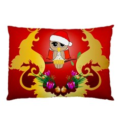 Funny, Cute Christmas Owl  With Christmas Hat Pillow Cases (Two Sides)