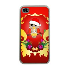 Funny, Cute Christmas Owl  With Christmas Hat Apple iPhone 4 Case (Clear)