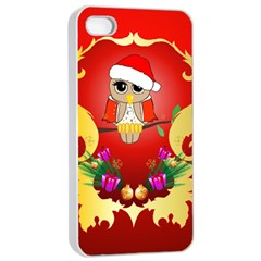 Funny, Cute Christmas Owl  With Christmas Hat Apple Iphone 4/4s Seamless Case (white)