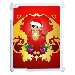 Funny, Cute Christmas Owl  With Christmas Hat Apple iPad 2 Case (White)