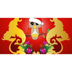 Funny, Cute Christmas Owl  With Christmas Hat YOU ARE INVITED 3D Greeting Card (8x4)