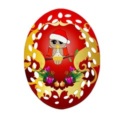Funny, Cute Christmas Owl  With Christmas Hat Oval Filigree Ornament (2-Side)