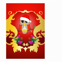 Funny, Cute Christmas Owl  With Christmas Hat Small Garden Flag (Two Sides)