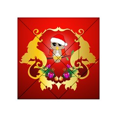 Funny, Cute Christmas Owl  With Christmas Hat Acrylic Tangram Puzzle (4  x 4 )