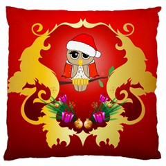 Funny, Cute Christmas Owl  With Christmas Hat Large Cushion Cases (One Side)