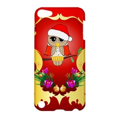 Funny, Cute Christmas Owl  With Christmas Hat Apple iPod Touch 5 Hardshell Case