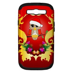 Funny, Cute Christmas Owl  With Christmas Hat Samsung Galaxy S III Hardshell Case (PC+Silicone)