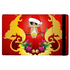 Funny, Cute Christmas Owl  With Christmas Hat Apple iPad 2 Flip Case