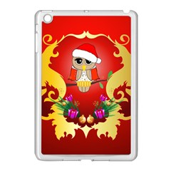 Funny, Cute Christmas Owl  With Christmas Hat Apple Ipad Mini Case (white)