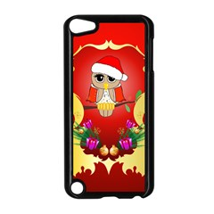 Funny, Cute Christmas Owl  With Christmas Hat Apple iPod Touch 5 Case (Black)