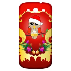Funny, Cute Christmas Owl  With Christmas Hat Samsung Galaxy S3 S III Classic Hardshell Back Case