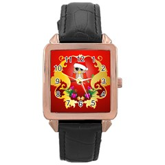 Funny, Cute Christmas Owl  With Christmas Hat Rose Gold Watches