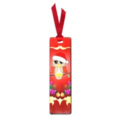 Funny, Cute Christmas Owl  With Christmas Hat Small Book Marks