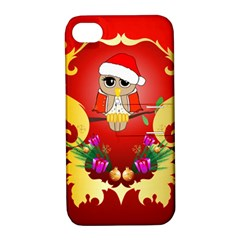 Funny, Cute Christmas Owl  With Christmas Hat Apple iPhone 4/4S Hardshell Case with Stand