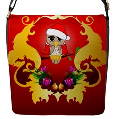 Funny, Cute Christmas Owl  With Christmas Hat Flap Messenger Bag (S)