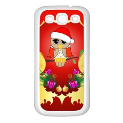 Funny, Cute Christmas Owl  With Christmas Hat Samsung Galaxy S3 Back Case (White)