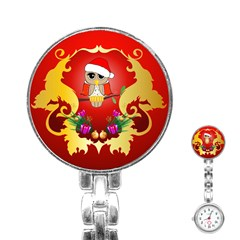 Funny, Cute Christmas Owl  With Christmas Hat Stainless Steel Nurses Watches