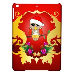 Funny, Cute Christmas Owl  With Christmas Hat iPad Air Hardshell Cases