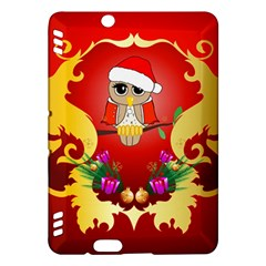 Funny, Cute Christmas Owl  With Christmas Hat Kindle Fire HDX Hardshell Case