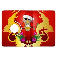 Funny, Cute Christmas Owl  With Christmas Hat Kindle Fire HDX Flip 360 Case