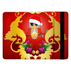 Funny, Cute Christmas Owl  With Christmas Hat Samsung Galaxy Tab Pro 12.2  Flip Case