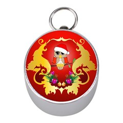 Funny, Cute Christmas Owl  With Christmas Hat Mini Silver Compasses