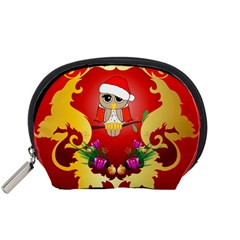 Funny, Cute Christmas Owl  With Christmas Hat Accessory Pouches (Small)