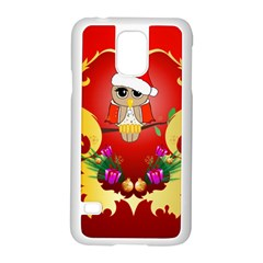 Funny, Cute Christmas Owl  With Christmas Hat Samsung Galaxy S5 Case (White)