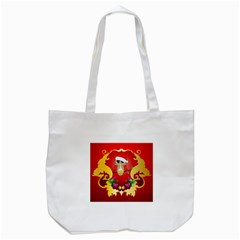 Funny, Cute Christmas Owl  With Christmas Hat Tote Bag (White)