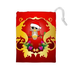 Funny, Cute Christmas Owl  With Christmas Hat Drawstring Pouches (Large)