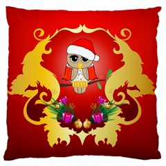 Funny, Cute Christmas Owl  With Christmas Hat Large Flano Cushion Cases (One Side)