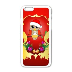 Funny, Cute Christmas Owl  With Christmas Hat Apple iPhone 6/6S White Enamel Case