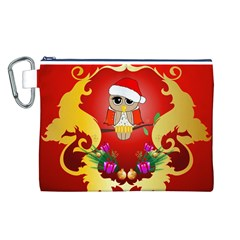 Funny, Cute Christmas Owl  With Christmas Hat Canvas Cosmetic Bag (L)