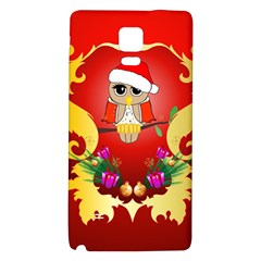 Funny, Cute Christmas Owl  With Christmas Hat Galaxy Note 4 Back Case