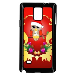 Funny, Cute Christmas Owl  With Christmas Hat Samsung Galaxy Note 4 Case (Black)