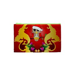 Funny, Cute Christmas Owl  With Christmas Hat Cosmetic Bag (XS)