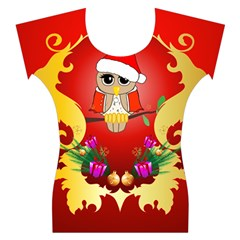 Funny, Cute Christmas Owl  With Christmas Hat Women s Cap Sleeve Top