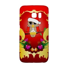 Funny, Cute Christmas Owl  With Christmas Hat Galaxy S6 Edge