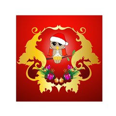 Funny, Cute Christmas Owl  With Christmas Hat Small Satin Scarf (square)