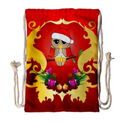 Funny, Cute Christmas Owl  With Christmas Hat Drawstring Bag (Large)